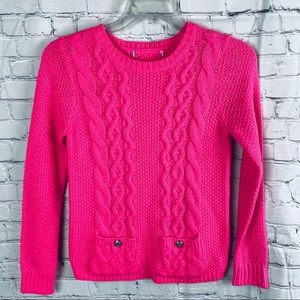 Neon Pink Cable Knit Pocket Sweater